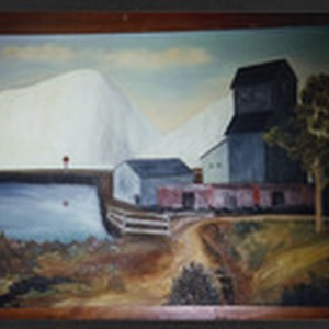 Photo of Painting: Town by Mountains