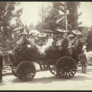 Los Angeles Fiesta float, showing riders in Japanese costumes, 1902