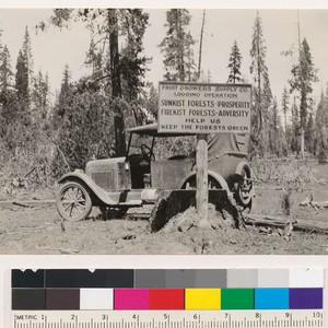 Fire prevention sign at junction of road to logging camps with Susanville-Pittville ...