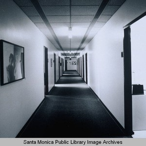 Interior second level corridor 2300 deatil view, facing south, Rand Corporation Headquarters, ...