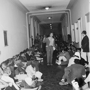 Mario Savio speaking to students in Sproul Hall