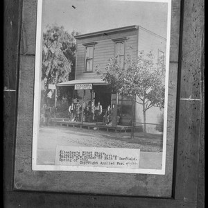 Copy of a photo of Alhambra, Calif.'s first store-post office circa 1886