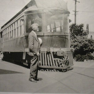 Passenger car of the P&SR electric railway in front of the Sebastopol ...