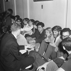 Demonstrators in Sproul Hall hallways during sit-in