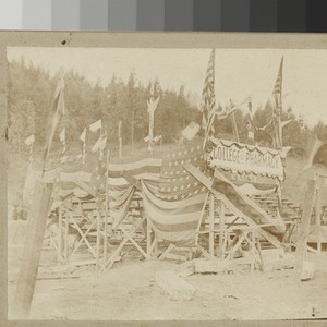 College of Pharmacy grandstand for ground-breaking ceremony, 1897