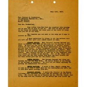 Letter to Isidore B. Dockweiler, July 15, 1930