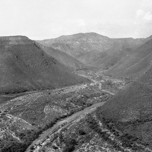 Looking up the Santo Domingo valley northeast from the mesa to the ...