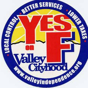 """Yes on F: Valley Cityhood"" sticker"