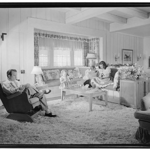 Goff, Norris and Elizabeth, residence. Family in living room