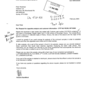 [Letter from Victoria Sandiford to Peter Redshaw regarding urgent request for witness ...