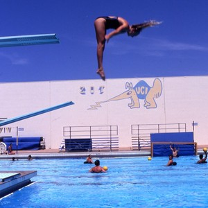 Images of student April Gibb diving, for View book