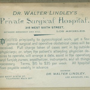 Dr. Walter Lindley's Private Surgical Hospital