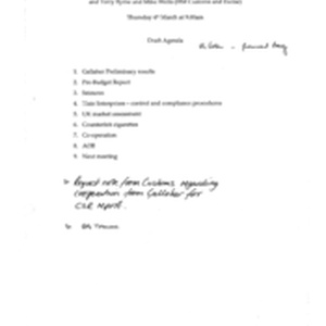 [Draft agenda of meeting between Tom Keevil and Jeff Jeffery(Gallaher) and Terry ...
