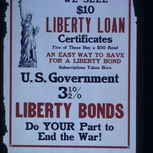 We sell $10 Liberty Loan certificates. Five of these buy a $50 ...