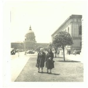 Two women in front of San Francisco City Hall