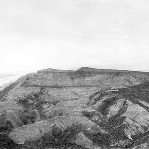 Looking north along coast across big gully (cañon mouth) south of San ...