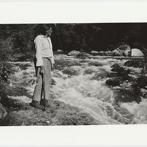 Ishi at river crossing of his 1909 camp