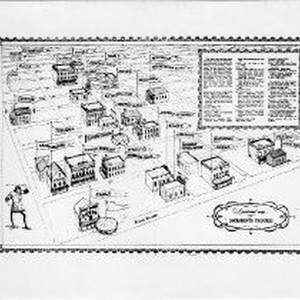 "Copy Print: ""A Pictorial Map of Sacramento Theaters"" a lithographic depiction of ..."