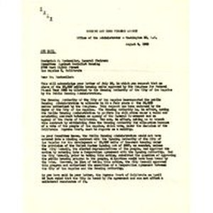 Letter from Raymond M. Foley to Frederick C. Dockweiler, August 8, 1952