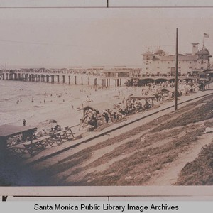 Long Beach, Calif. crowds gather for picnicking and other recreation showing the ...
