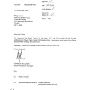 [Letter from Norman BS Jack to Philip Crean regarding excel spreadsheet relating ...