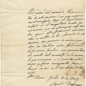Pueblo of San Jose, Magistrate Correspondence, 1847