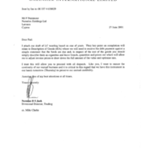 [Letter from Norman BS Jack to F Nammour regarding LC wording]