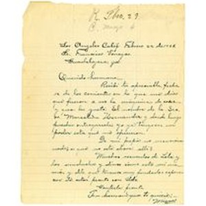 Letter from Miguel Venegas to Francisco Venegas, February 22, 1928
