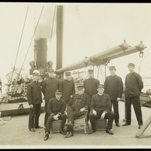 Captain Brown and his officers on the S.S. Ohio during the Los ...