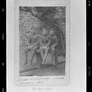 Three Soldiers - Oscar Woodbridge (middle) with fellow soldiers