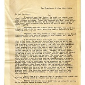 Letter from John Henry Dockweiler to Isidore B. Dockweiler, October 12, 1917