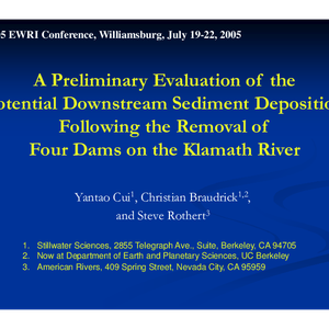 A Preliminary Evaluation of the Potential Downstream Sediment Deposition Following the Removal ...
