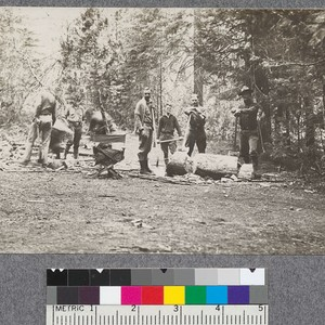 After-breakfast exercise, getting the cook's wood. Camp Califorest '20