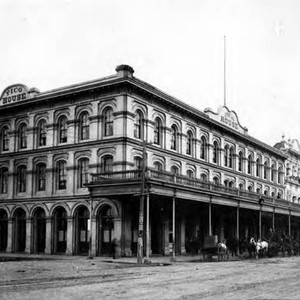Photograph taken of the Pico House at the corner of Plaza and ...