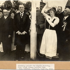 Breaking ground for Danish Building, Miss Helga Jensen raising flag, Otto Wadsted, ...