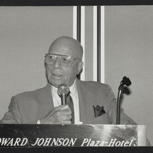 Edgar J. Johnson speaks at an unidentified Golden State Mutual event