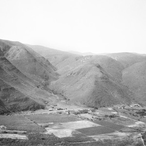 Santo Domingo valley facing north from the mesa to the south of ...