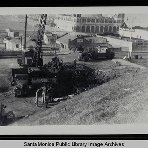 Excavation of the sewage pump plant across from the Santa Monica Pier ...