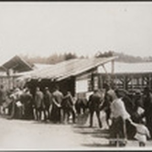 [Relief line at refugee camp. Golden Gate Park]