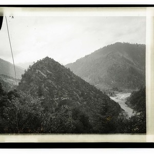 Salmon Creek/View on the Klamath near Orleans/Mountain Scene: Sugar Loar Rock, above ...