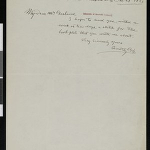Timothy Cole, letter, 1921-10-27, to Hamlin Garland