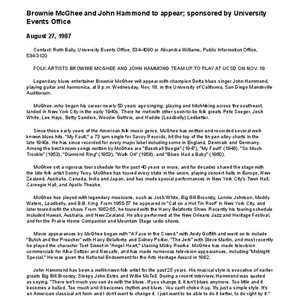 Brownie McGhee and John Hammond to appear; sponsored by University Events Office