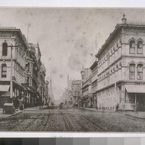 Sutter St. west from Kearny St., ca. 1865. Trinity Episcopal Church (with ...