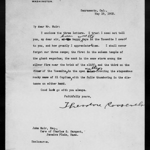 Letter from Theodore Roosevelt to John Muir, 1903 May 19