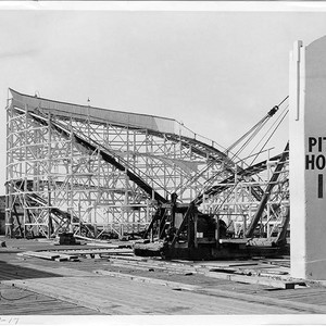Remnants of a roller coaster from Ocean Park Pier at the construction ...