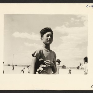 Manzanar, Calif.--Young evacuee baseball player, member of one of the eighty teams ...