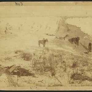 Birdseye view of a canyon at Wounded Knee, South Dakota, January 1, ...