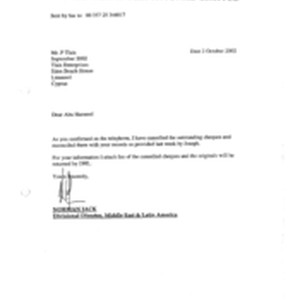 [Letter from Norman Jack to P Tlais Abu Hameed regarding cancellation of ...