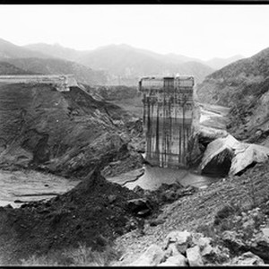A scenic view of the remains of the Saint Francis dam disaster