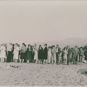 Group of Palisadians on a beach outing to gather marine specimens
